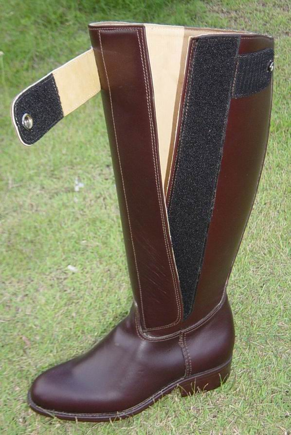 (click to enlarge) Dark Brown Kenyan Boot with velcro-snap buckle showing the boot in the open position.